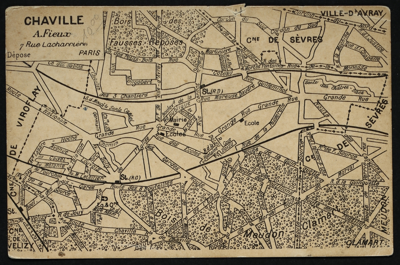 Ancienne carte de Chaville 1900